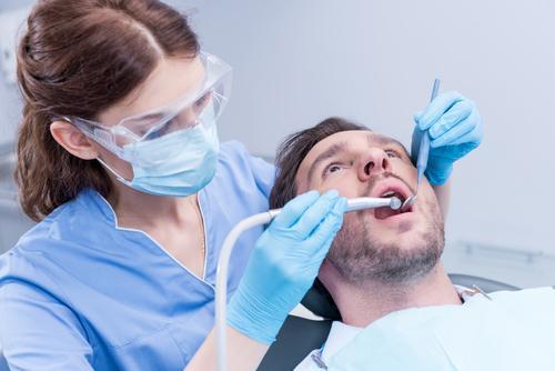 Teeth inlays patient getting dental work